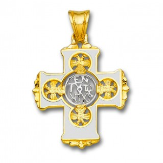 En Touto Nika - In This Be Victorious ~ 18K Solid Yellow & White Gold and Hot Enamel Byzantine Cross Pendant