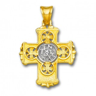 En Touto Nika - In This Be Victorious ~ 18K Solid Yellow & White Gold Byzantine Cross Pendant