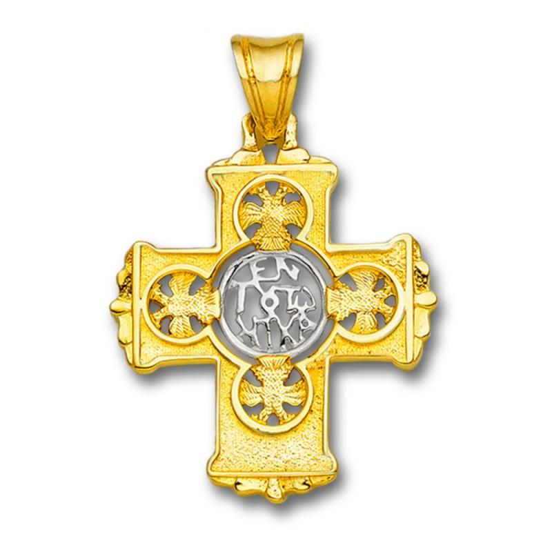 salvar Pascua de Resurrección Duquesa  En Touto Nika-In This Be Victorious - Solid Yellow & White Gold Byzantine  Cross Pendant