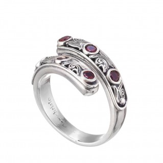 Gerochristo 20126N ~ Sterling Silver Multi-Stone Bypass Wrap Ring