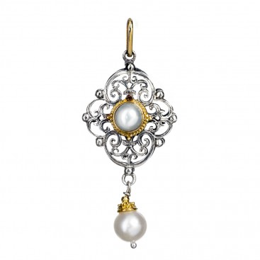 Gerochristo 1140N ~ Solid 18K Gold and Silver Medieval Renaissance Pendant