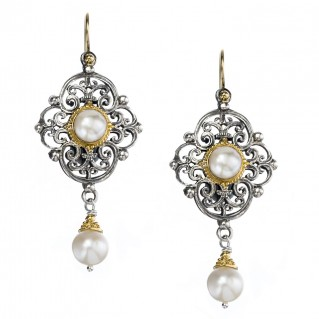 Gerochristo 1140N ~ Solid Gold, Silver & Pearls - Medieval Dangle Earrings