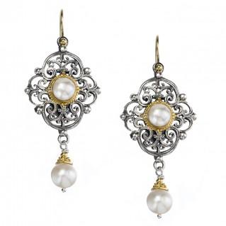 Gerochristo 1140N ~ Solid Gold, Silver & Pearls - Medieval Dangle Earrings