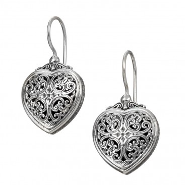 Gerochristo 1716N ~ Sterling Silver Filigree Drop Heart Earrings