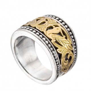 Gerochristo 2052N ~ Solid Gold & Silver Byzantine Ring with Doves
