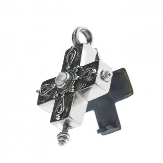 Sterling Silver Byzantine Greek Reliquary Locket Cross Pendant at CultureTaste - Savati 307