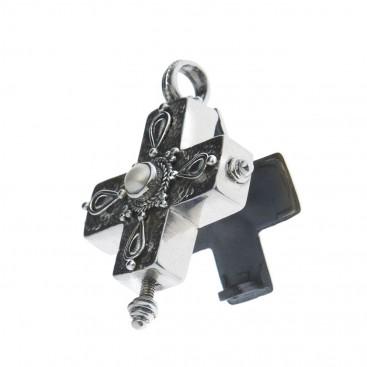 Sterling Silver Byzantine Greek Reliquary Locket Cross Pendant at CultureTaste - Savati 307