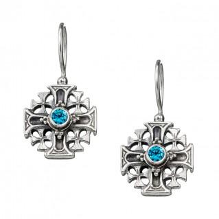 Gerochristo 1357N ~ Sterling Silver & Zircon Medieval Drop Cross Earrings