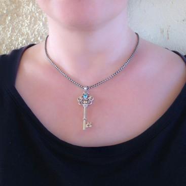 Gerochristo 3461 ~ Solid Gold, Silver & Zircon Medieval Byzantine Key Pendant