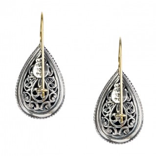 Gerochristo 1127N ~ 18K Gold & Sterling Silver Medieval Byzantine Drop Earrings