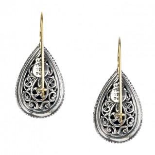 Gerochristo 1127N ~ 18K Gold & Sterling Silver Medieval Byzantine Drop Earrings