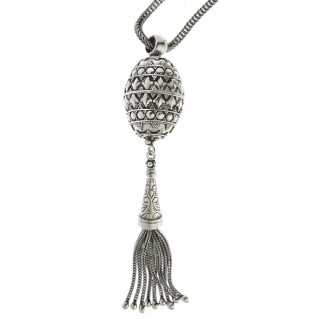 sterling silver ornate oval ball byzantine long fringed pendant necklace designer savati 0309 30