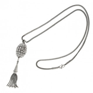 sterling silver ornate oval ball byzantine long fringed pendant necklace designer savati 0309 31