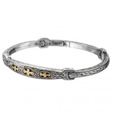 Gerochristo 6421N ~ 18K Solid Gold & Silver Medieval Cross Bangle Bracelet