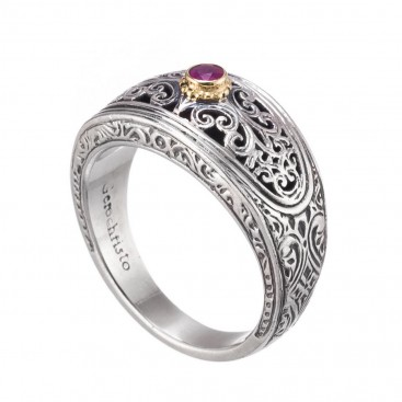 Gerochristo 20131N ~ 18K Solid Gold & Silver Medieval Byzantine Filigree Band Ring