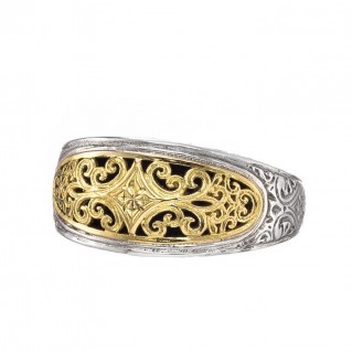 Gerochristo 20129N ~ 18K Solid Gold & Silver Medieval Byzantine Filigree Band Ring