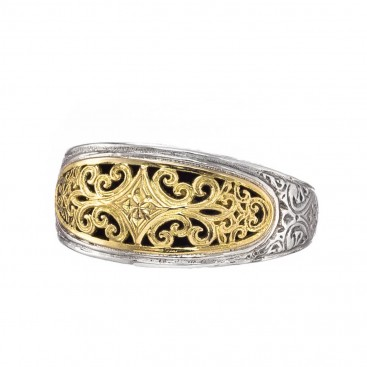 Gerochristo 20129N ~ 18K Solid Gold & Silver Medieval Byzantine Filigree Band Ring