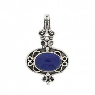 Sterling Silver Byzantine Ornate Pendant with Lapis ~ Savati 310