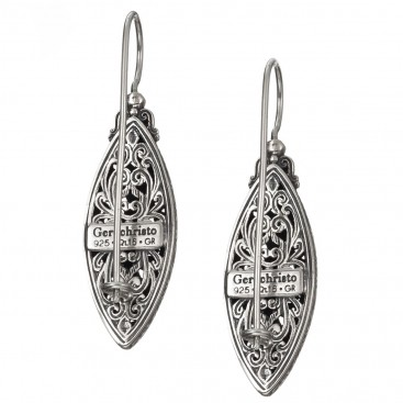 Gerochristo 1714Ν~ Sterling Silver Medieval Byzantine Filigree Navette Long Earrings
