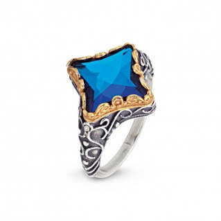 D49 ~ Sterling Silver and Swarovski - Medieval Byzantine Ring