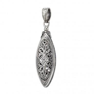 Gerochristo 1714N ~ Sterling Silver Medieval Byzantine Filigree Navette Pendant
