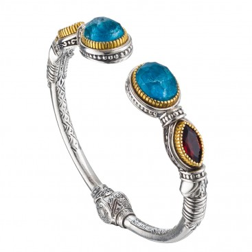 Gerochristo P6379N~ Sterling Silver Multi-Stones Medieval Cuff Bracelet