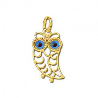 Wise Little Owl with Blue Eyes ~ 14K Solid Gold Filigree Pendant - B/S