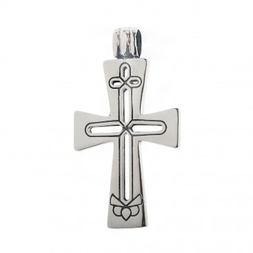 Sterling Silver Byzantine Latin Cross Pendant with Openwork Motifs