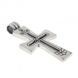 Sterling Silver Byzantine Latin Cross Pendant with Openwork Motifs