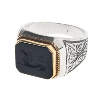 Solid Gold & Silver Intaglio Seal Stone Onyx Ring with Carved Lion ~ Savati 311