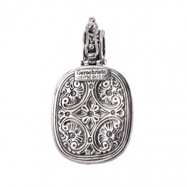 Gerochristo 3309N ~ Solid Gold & Silver Medieval Byzantine Inlaid Pendant
