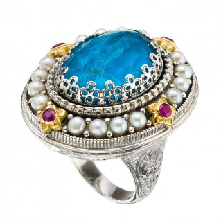 Gerochristo 20008N ~ Solid Gold, Silver & Stones Medieval Byzantine Imperial Cocktail Ring