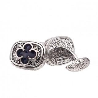 Gerochristo 7209N ~ Sterling Silver Medieval Byzantine Inlaid Cufflinks