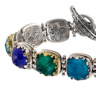 Gerochristo 6280N ~ Solid Gold & Silver Multi-Stone Link Bracelet with Doublet Stones