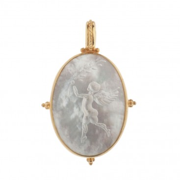 Solid Gold Intaglio Seal Stone Mother of Pearl Pendant with Eros ~ Savati 312