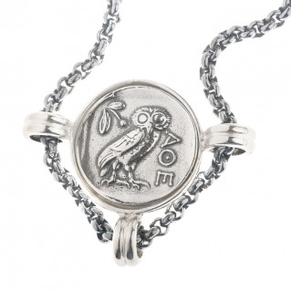 Goddess Athena and Wise Owl ~ Sterling Silver Coin Necklace