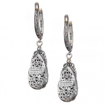 Gerochristo 1846N ~ Solid Gold & Silver Medieval Byzantine Drop Earrings with Doublet Stones