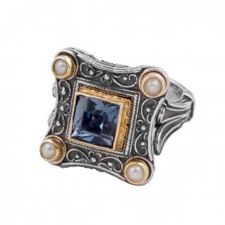 D258 ~ Silver, Swarovski & Pearls - Medieval Byzantine Cocktail Ring