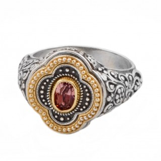 D292 ~ Sterling Silver Swarovski or Ruby - Medieval Byzantine Ring