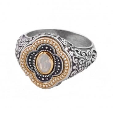 D292 ~ Sterling Silver Swarovski or Ruby - Medieval Byzantine Ring