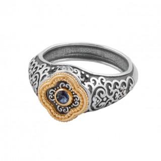 D296 ~ Sterling Silver and Swarovski - Medieval Byzantine Ring