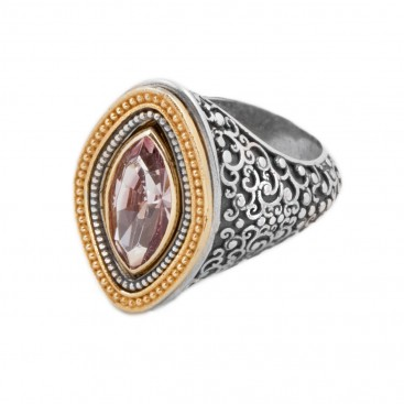 D294 ~ Swarovski Sterling Silver Medieval Byzantine Cocktail Ring