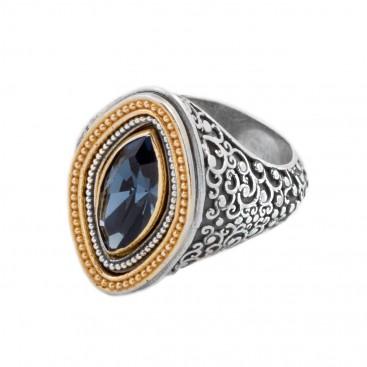 D294 ~ Swarovski Sterling Silver Medieval Byzantine Cocktail Ring