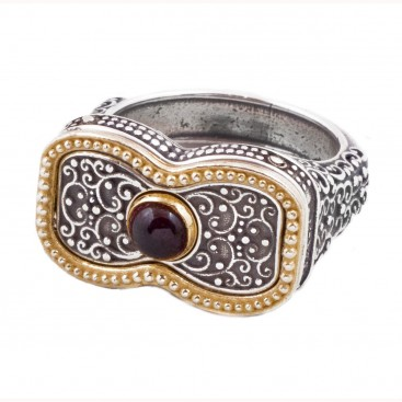 D293 ~ Sterling Silver Medieval Byzantine Single Stone Ring