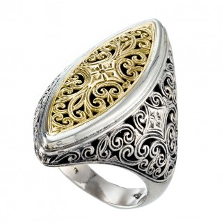 Gerochristo 20105N ~ Solid Gold & Silver Large Cocktail Navette Filigree Ring