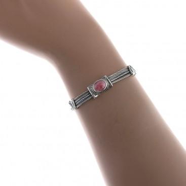 Savati 237 - Sterling Silver Multi Chain Byzantine Bracelet with Rhodochrosite