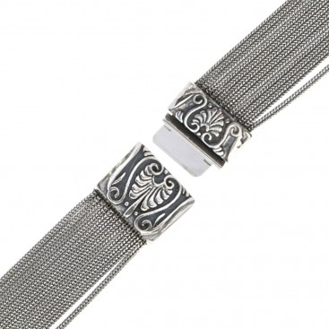 Savati Sterling Silver Multi Chain Byzantine Ornate Bracelet