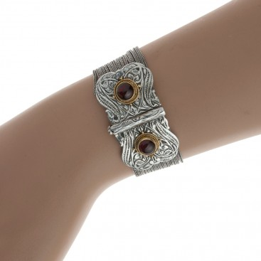 Savati 039 ~ Solid Gold & Sterling Silver Multi Chain Byzantine Bracelet with Turquoise or Garnet