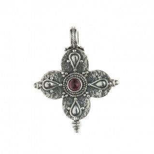 Sterling Silver Byzantine Reliquary Rounded Greek Cross Pendant ~ Savati 313
