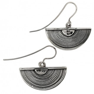 Sterling Silver Byzantine Half Spiral Drop Earrings ~ Savati 314